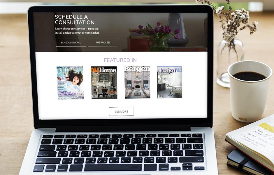 Fiori interior design website on desktop
